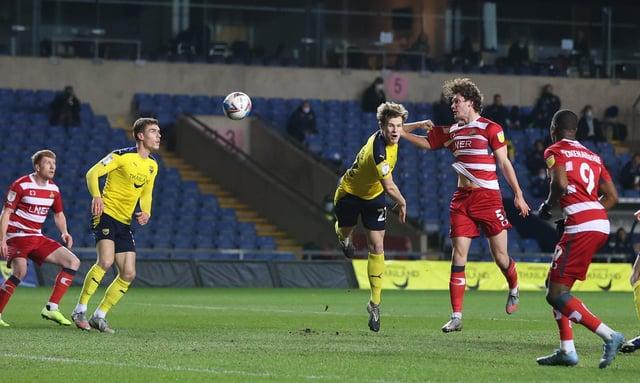Joe Wright heads goalward against Oxford. Picture: Gareth Williams/AHPIX
