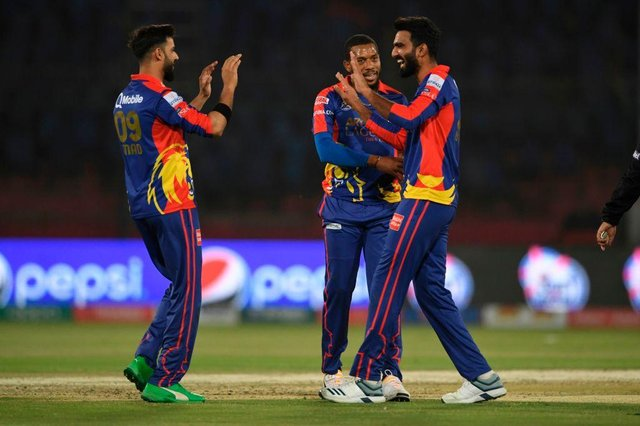 Usama Mir, furthest right, pictured in action for Karachi Kings, has signed for Doncaster Town. Photo: ASIF HASSAN/AFP via Getty Images
