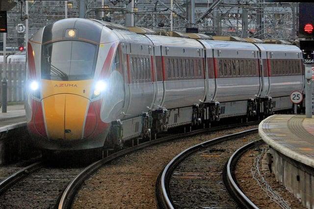 9 January 2020....      LNER Azuma train service arriving at Leeds City Station . Picture Tony Johnson