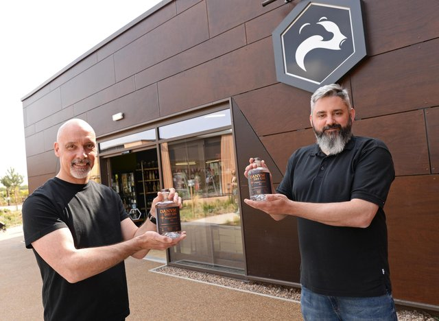 Paul Stillings and Carl Lindley, pictured with their Danvm Dry Gin.