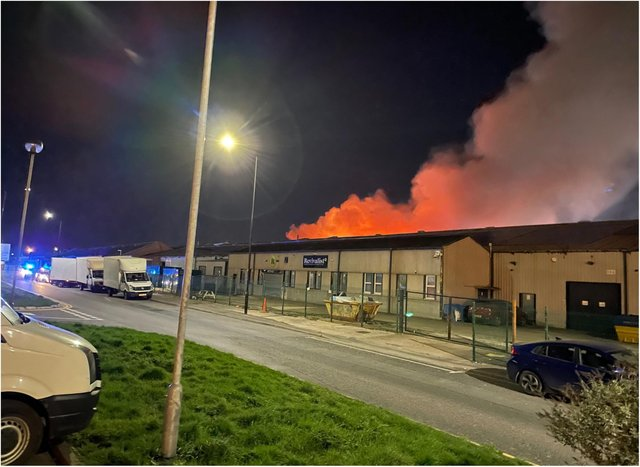 The fire has raged in the Carr Hill area overnight.