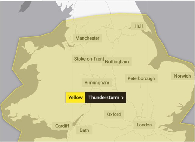 Storm warnings have been issued for Yorkshire and the East Midlands.