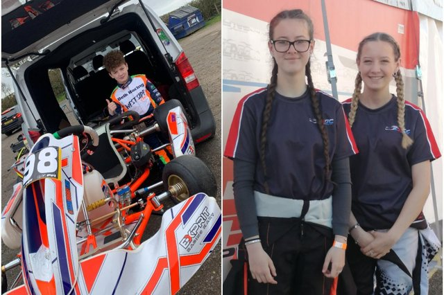 Karting starlets CharlieDomonkos and his cousinsFreya and Lexie Belk are all competing at national level.