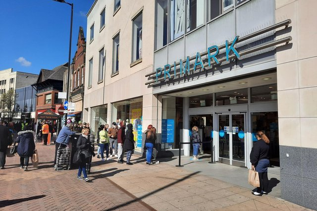 Queues build up outside Primark in Doncaster.