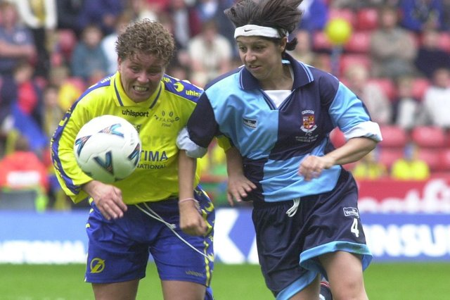 Doncaster Belles star Gillian Coultard, left, pictured in action in the 2000 Women's FA Cup final against Croydon.
