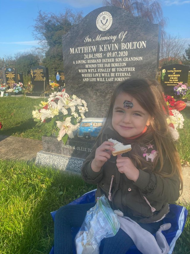 Beau Bolton visits her dad's grave in Harworth Cemetery.
