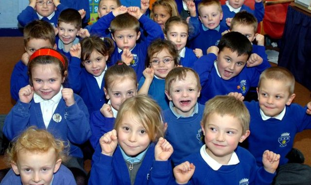 Rossington Tornedale Infant School in 2007 - pupils celebrating an Ofsted report.