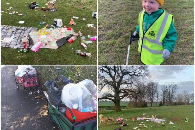 Photos of rubbish on Doncaster parks.