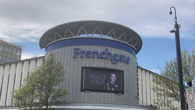 The Frenchgate Shopping Centre had this displayed for Prince Phillip.