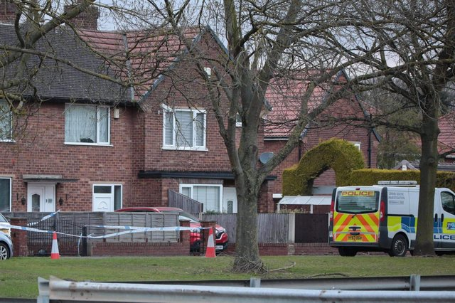 The scene in Lonsdale Avenue, Intake was sealed off by police. (Photo: Tony Critchley).