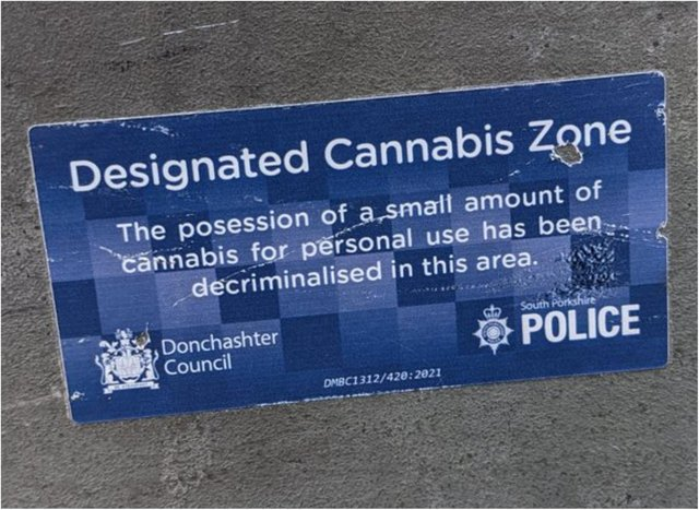 The spoof sign appears to have the backing of Doncaster Council and South Yorkshire Police - but closer inspection reveals the sticker to be fake.