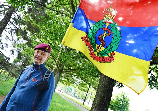 Philip Cox, pictured, is raising money for the Royal Army Medical Corp Benevolent Charity by walking 1306 miles.