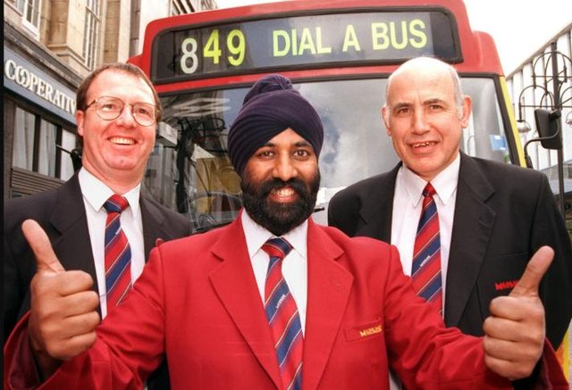 Jamal Singh celebrated passing his bus driving exams in 1998.