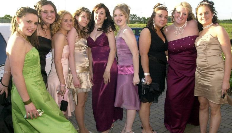 Group of girls from Edlington at prom in 2006.