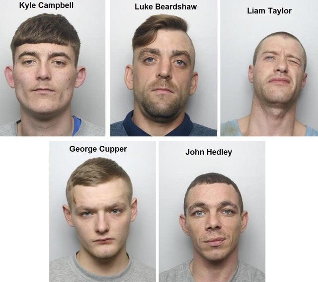 Doncaster men Kyle Campbell, Luke Beardshaw, Liam Taylor, George Cupper and John Hedley are all wanted by police.