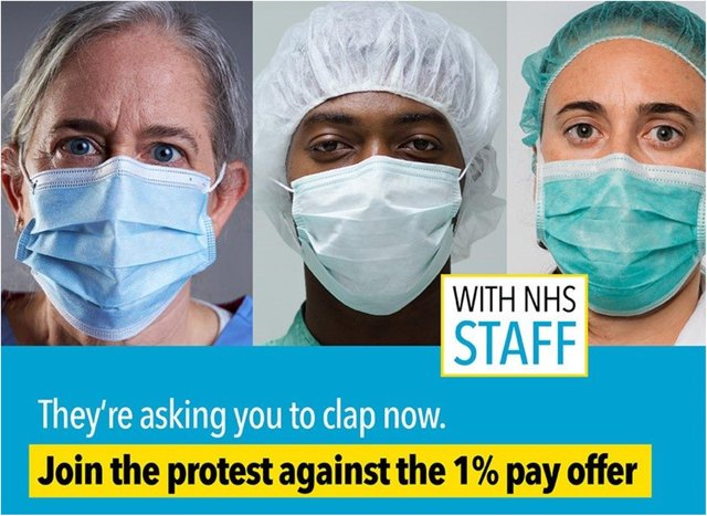 People are being urged to protest against the NHS pay rise.