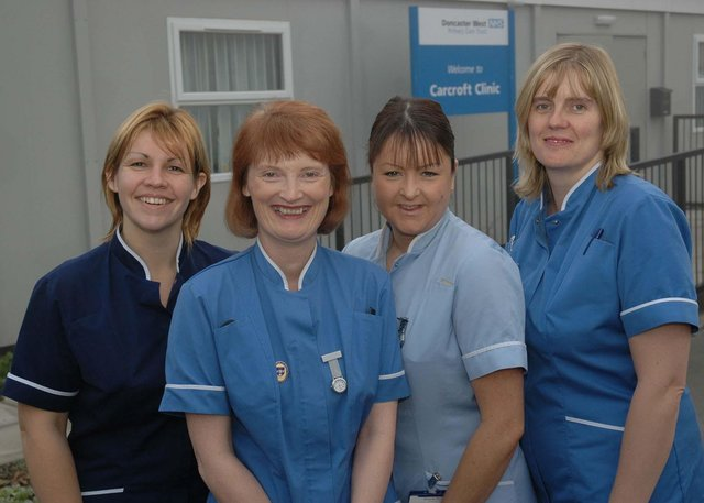Nurses outside their new base next to Carcroft Working Men's Club in 2005 were Carcroft district nurses Sarah West, Maggie Gallagher, Clare Huby and Kathryn Mackintosh.