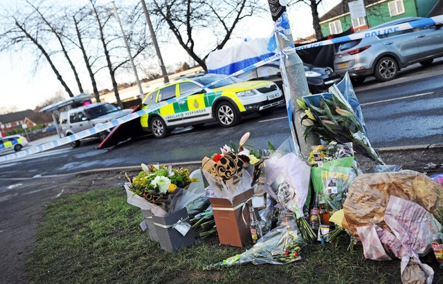 Floral Tributes laid at Wath Road, Mexborough, after Lewis Williams was shot dead (Photo: Marie Caley)