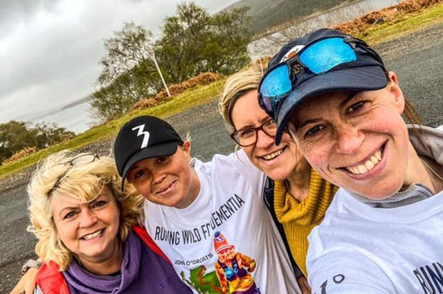 Vicky Hogg, second from left, with friends on the route in Scotland this week