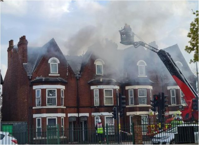 Fire engulfs the houses on Balby Road.
