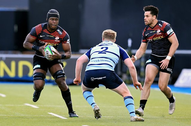 Saracens' Maro Itoje and Sean Maitland, pictured in action against Bedford, could line up against Knights on Sunday. Photo: David Rogers/Getty Images