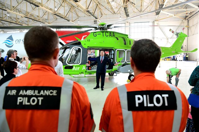 Children's Air Ambulance charity as it unveils its new airbase and new helicopter stationed at Doncaster Sheffield Airport.CEO of the Children's Air Ambulance Andy Williams.14th September 2018.