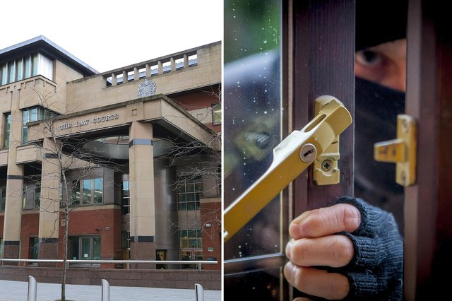 Sheffield Crown Court, pictured, heard how a booze and drug-fuelled burglar has been jailed after he struck at two South Yorkshire properties.