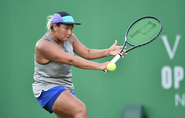 Doncaster's Tara Moore in action against Eden Silva at the Viking Open at Nottingham Tennis Centre. Photo: Nathan Stirk/Getty Images for LTA