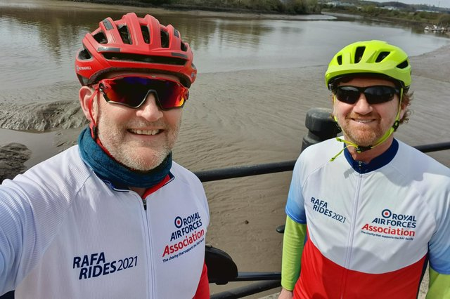 Mal Craghill (leftL) and Martin Wintermeyer training for their cycle challenge