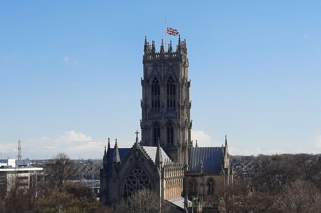 The union flag flies at half mast at Doncaster Minster.
