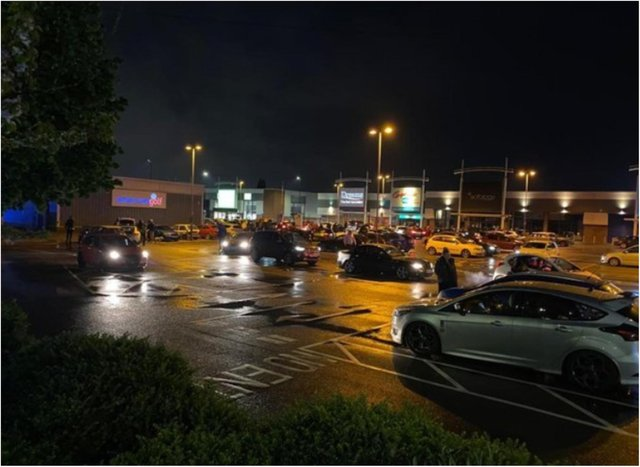 Police were called to the car meet on York Road on Saturday night.