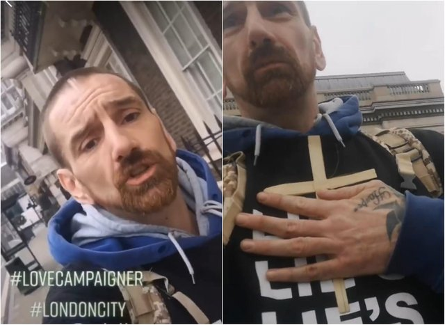 Doncaster man Phillip Hartley, who also uses the name Phillip L'Estrange and calls himself the #lovecampaigner, filmed himself at an anti-lockdown demonstration in London.