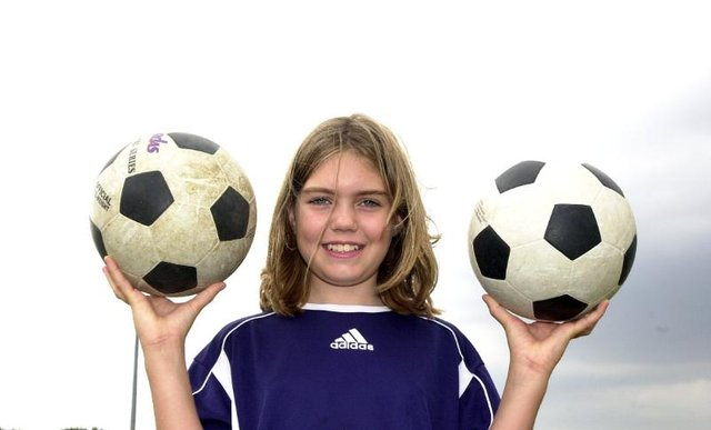 Lauren Bennett, aged 11 at the Doncaster RUC Summer camp at the Armthorpe Road Ground in 2003.