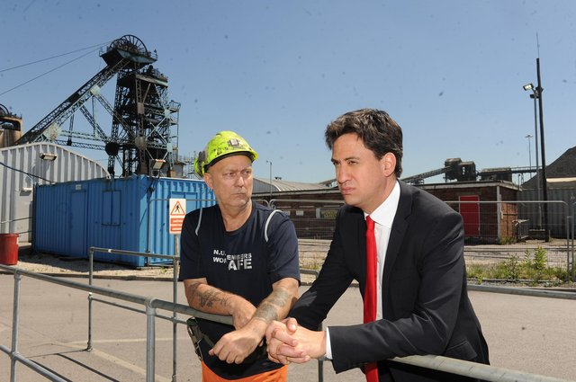30 June 2015...Ed Miliband MP chats with Dennis Crew during his visit to Hatfield Colliery near Doncaster on the day it was announced it is to close.Picture Scott Merrylees SM1008/81a