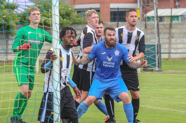 Owen Fieldsend in action for Armthorpe. Photo: Steve Pennock