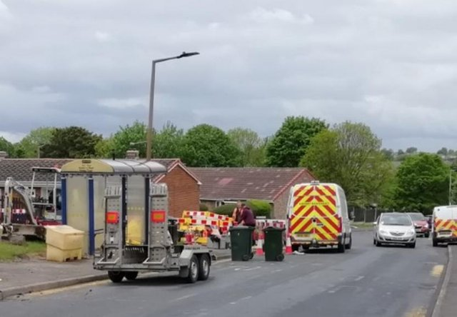 The roadworks on the Windhill estate in Mexborough