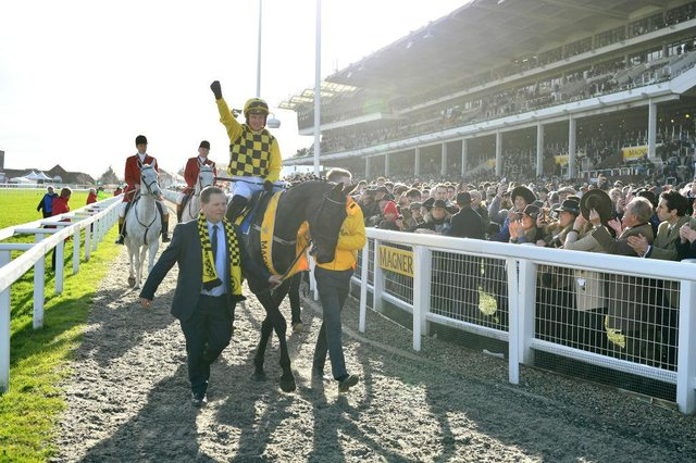 Paul Townend riding Al Boum Photo celebrates winning last year's Magners Cheltenham Gold Cup Chase. Photo: Dan Mullan/Getty Images