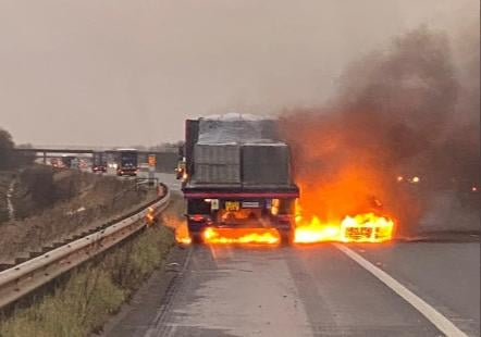 The lorry fire on the M18 yesterday