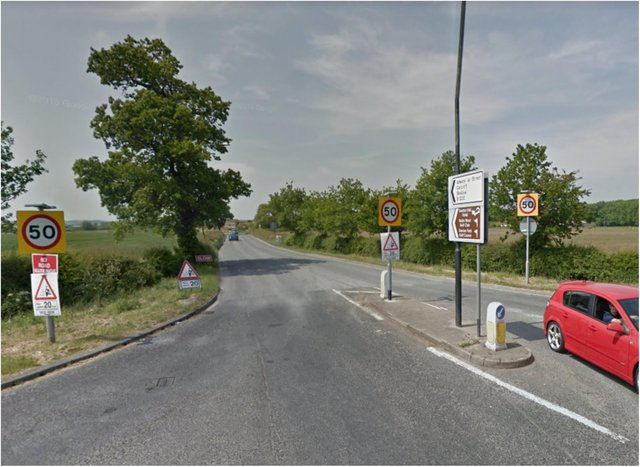 A bike and car were in collision on the A19.