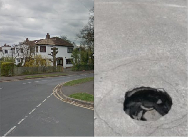 A sink hole similar to this one has opened up in a street in Wheatley Hills.