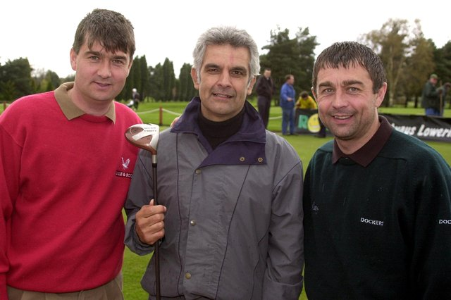 Mick Bates (centre) in 2000 alongside then-Rovers boss Ian Snodin and assistant Glyn Snodin
