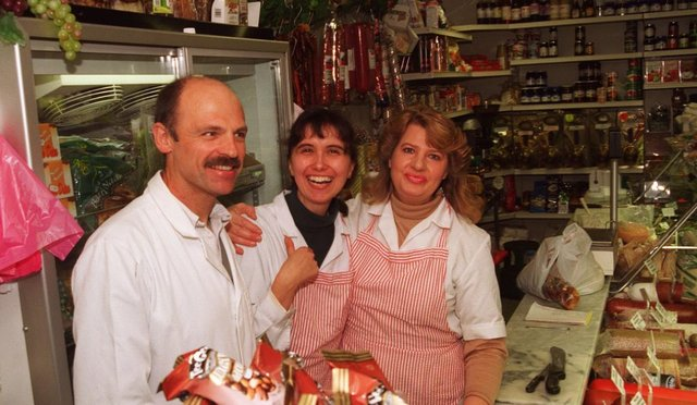 Scicluna Deli at Doncaster Market in 1996, Josie Cooke, owner centre, with assistants Neil and Anna