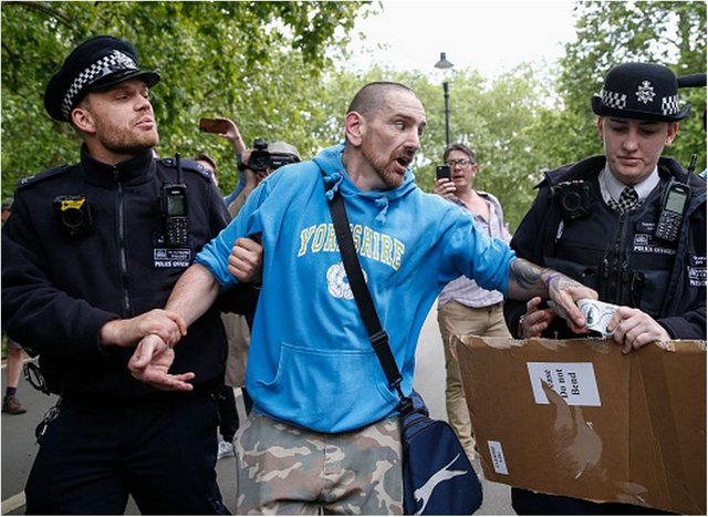 Phillip Hartley was arrested in London at a demonstration against the coronavirus lockdown last year.