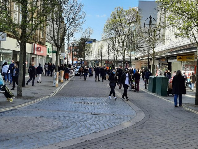 Busy streets as shoppers return to Doncaster town centre.