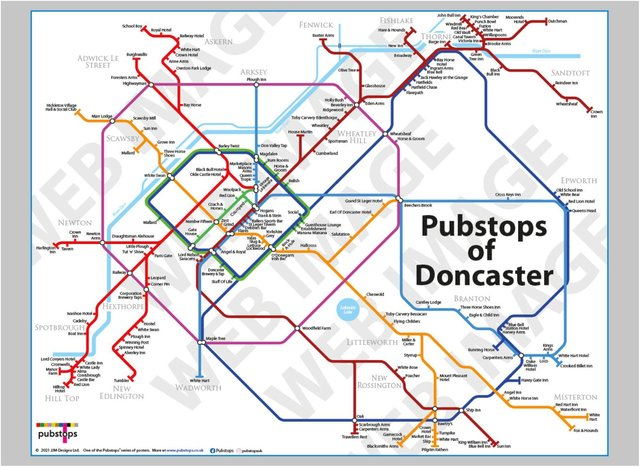 The London Underground style map of Doncaster's pubs. (Photo: Pubstops).