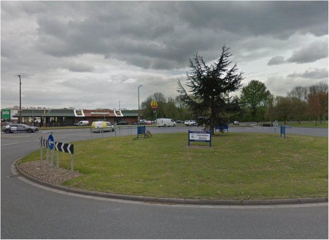 Two vehicles were in collision on the Shaw Lane roundabout.