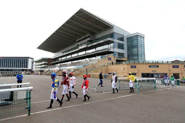 Jockeys make their way out from the weighing room at Doncaster Racecourse. Photo: Mike Egerton - Pool/Getty Images