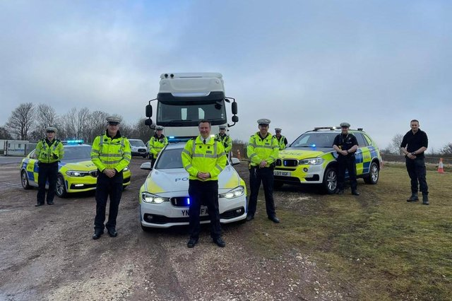 Operation Tramline saw officers driving a unmarked HGV tractor unit