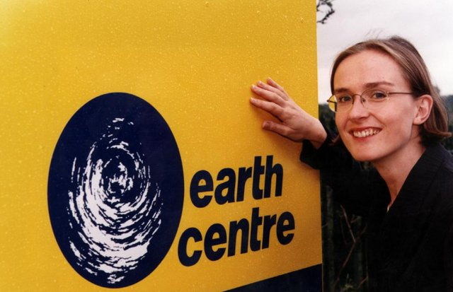 Penni Mawson with the new logo of the Earth Centre before it opened