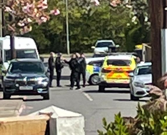 The scene in Cantley  after the alleged shooting